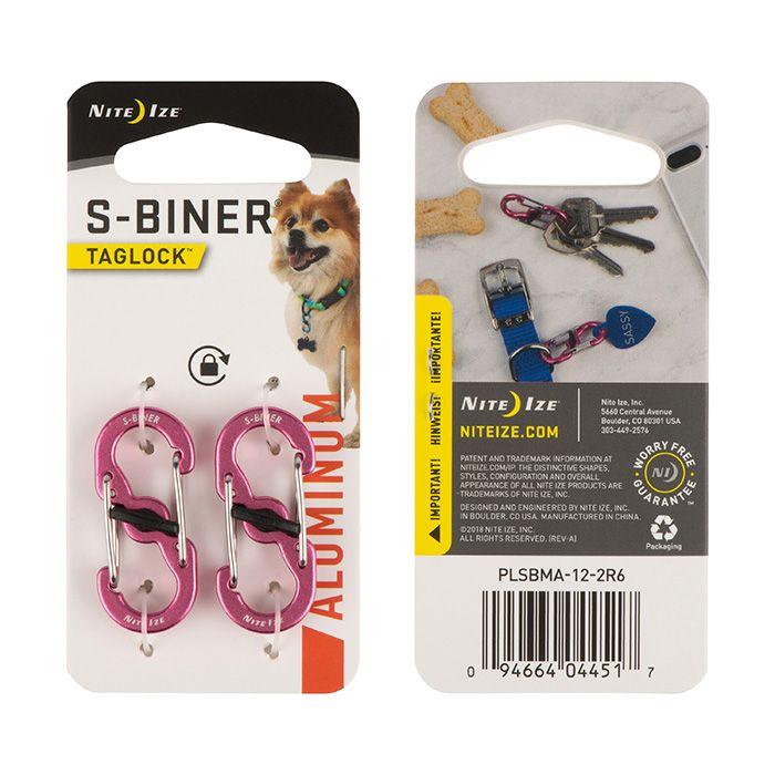 S-Biner® TagLock™ Aluminum - 2 Pack - Pink