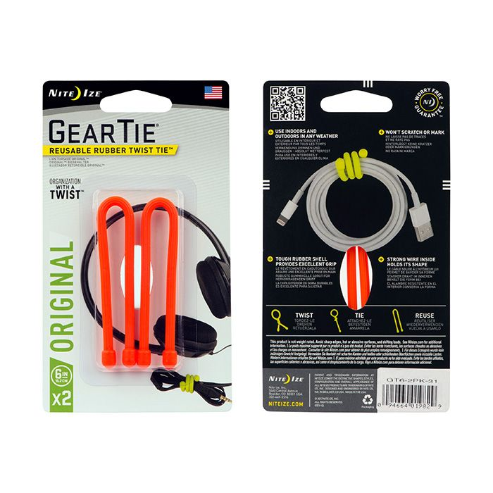 Gear Tie 6- Bright Orange 2pk