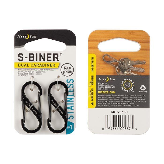 S-Biner Size #1 - 2 Pack - Black