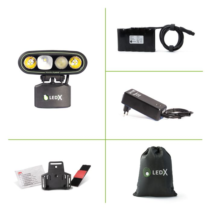 Mamba 4 000 X-pand Lamp, battery and automatic charger, holder for hel