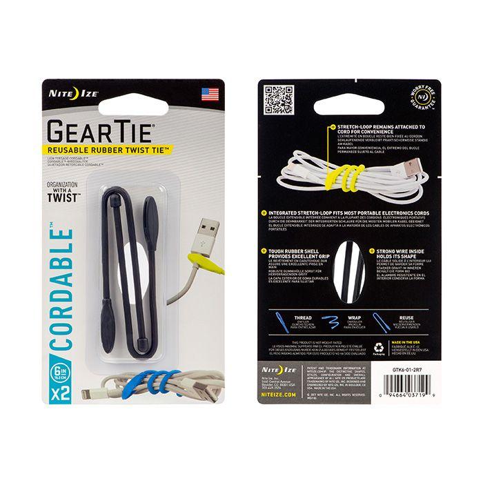 Gear Tie® Cordable™ Twist Tie 6 in. - 2 Pack - Black