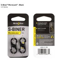 S-Biner® MicroLock® Stainless Steel - 2 Pack - Black