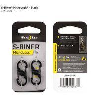 S-Biner® MicroLock® Stainless Steel - 2 Pack - Black